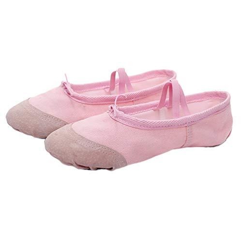 Healifty 1 Paio di Scarpette da Ballo Pantofole Ballerine Tela Tela da Ballo Scarpe da Ballo Morbide Scarpe da Yoga Pantofole per Bambina Bambino Adulti - Taglia 37 (Rosa)