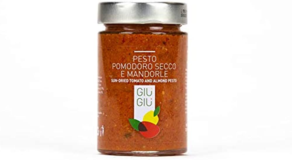 3 vasetti di pesto al pomodoro secco e mandorle, 3 per 200 gr, prodotto siciliano artigianale