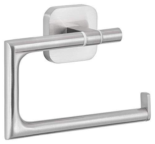 tesa ESTEETIC Toilettenpapierhalter ohne Deckel, Edelstahloptik, inkl. Klebelösung, garantiert rostfrei, 99mm x 132mm x 45mm