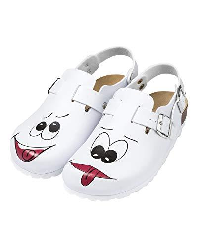 CLINIC DRESS Clog - Clogs Damen bunt weiß Motiv. Schuhe für Krankenschwestern, Ärzte oder Pflegekräfte weiß/bunt, Gesicht 41