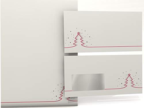 Weihnachtsbriefpapier mit FENSTER-Umschlag Rotes Tannenbäumchen, 50 Blatt und 50 Briefumschläge