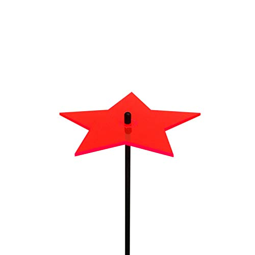 Großer Sonnenfänger Stern, Deko Gartenstecker mit 75cm Schwingstab, Leuchtende Garten Geschenk Idee, Farbe:Rot