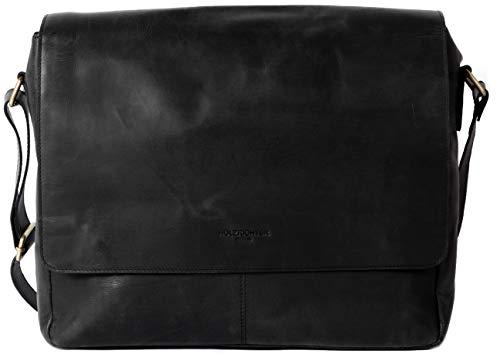 HOLZRICHTER Berlin - Premium Umhängetasche (M) aus Leder - Handgefertigte Messenger Bag im Vintage Design - Ledertasche für Herren und Damen - schwarz anthrazit