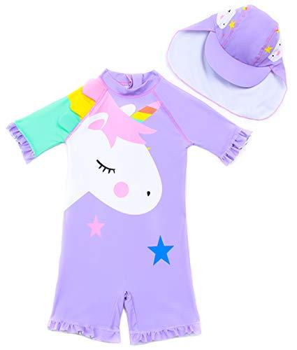 Baby Toddler Girls Unicorn Swimsuits One Piece Swimwear Bathing Suits Rash Guard UPF 50+ (Purple Star Unicorn, 3-4 Years)