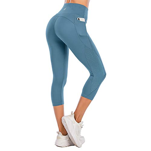 Steppe High Waist Women's Yoga Pants with Pockets Capri Workout Running Mesh Leggings Tummy Control Non-See-Through Compression Capris for Athletic Gym Exercise Fitness Navy Blue-S