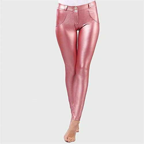 Hddwzh Leggings Gruesos De Mujer,Pink Glitter Leggings Cálidos para Mujeres Sexy Invierno Forrado Elasticidad Estrecha Forma Leggings Plata Cuero Suave Look