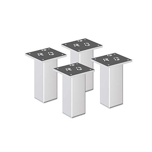 sossai® Exklusiv - Aluminium Möbelfüße | E4MF-N | 4er Set | Höhe: 200mm | Farbe: Aluminium