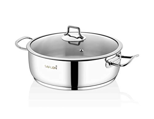 Saflon Stainless Steel Tri-Ply Capsulated Bottom 5 Quart Saute Pot with Glass Lid, Induction Ready, Oven and Dishwasher Safe