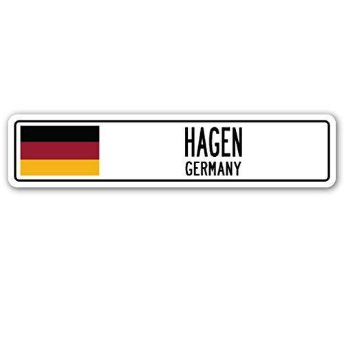 Jeartyca Hagen Duitsland Straat Teken Duitse Vlag Stad Land Weg Muur Gift Metalen Teken 45 x 10 Metalen Tekenen Grappige Aluminium Teken voor Garage Home Yard