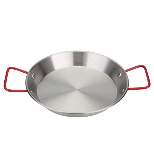 YARNOW Sartén de Acero Inoxidable para Paella Sartén para Espaguetis de Pollo Frito Sartén Wok para Freír Utensilios de Cocina para Restaurante en Casa 20 Cm