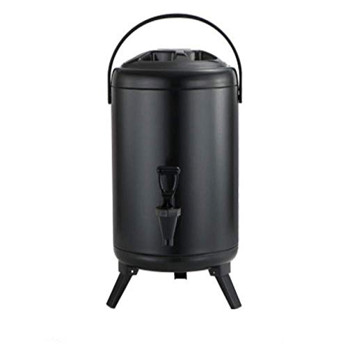 159 Gallon Insulated Beverage Dispenser with Stainless Steel Insulated Double Wall Matte Surface Black for Coffee Tea Milk Soup Family Party Cafe Buffet 1 8L