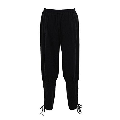 Pantalones de Hombre del Renacimiento Pantalones Vikingos Medievales Pantalones de Vikingos para Hombres Pantalones de Traje Pantalones (Negro, 2XL)