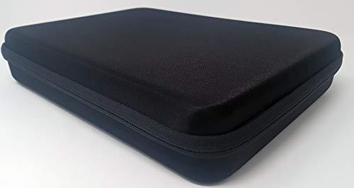 Hi-Shock 3D Brillenetui/Hardcase Quad-Case für Vier Brillen. Hartschalen Box mit Reißverschluss & Zubehörfach | inkl. 4X Mikrofasertücher | 32 x 23 x 6,5 cm | schwarz