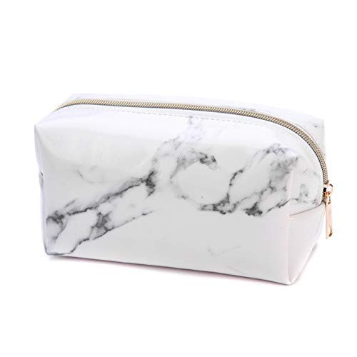 FanYu Makeup Bag Cosmetic Storage Bag with Zipper, Waterproof Marble Pattern Hand Pouch for Pencil Eyeliner Makeup Brush Lipstick Face Powder Hand Cream, Rose Gold(White)