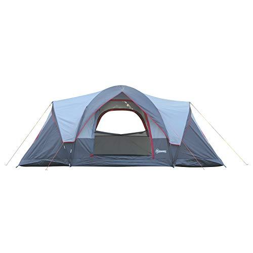 Outsunny Tente de Camping familiale 5-6 pers. - 2 Chambres - Grande Porte + 3 fenêtres - dim. 4,55L...