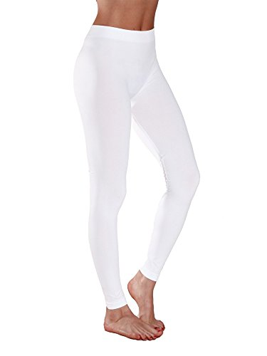 Sofra Women's Full Ankle Length Seamless Leggings (Ankle Length, White)