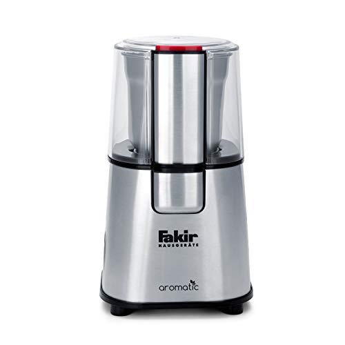 Fakir Elektrische koffiemolen, met schijfmaalwerk, molen voor koffiebonen, specerijen, noten en granen, 60 g capaciteit, zilver - 220 Watt