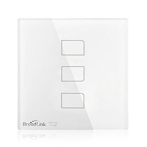Broadlink TC2 Smart Wall Switch 3Gang Touch Switch Smart Home Automation Wireless Wifi Control LED Lights Wall Switch BLTC-2-EU (White-3Gang)