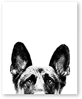 Modern German Shepherd Canvas Painting Print Poster Picture Watercolor Pet Dog Painting Home Restaurant Decoration 60x80cm No Frame