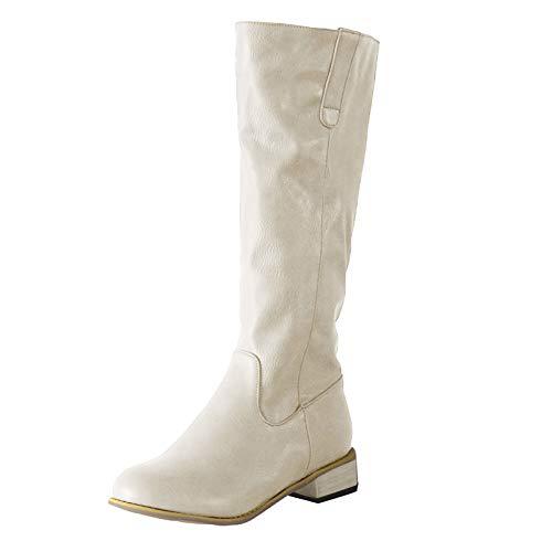 Stivali Donna Moda Pelle Tacco Basso Scarpe con Punta Tonda Slip-On Comodo Western (43,Beige)