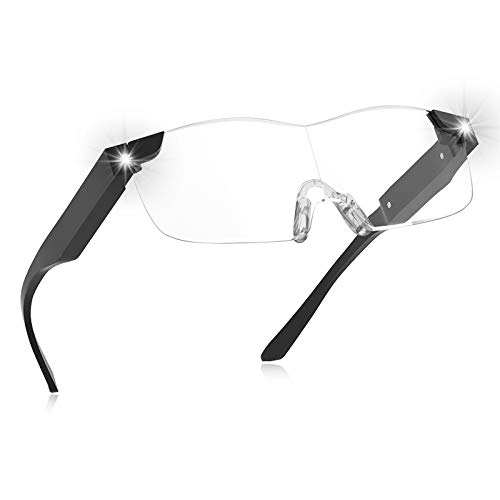 Magnifying Glasses with Light,160% Magnifying Lighted Eyeglasses,Rechargeable LED Lights, Hands Free for Hobbies,Reading,Close Work