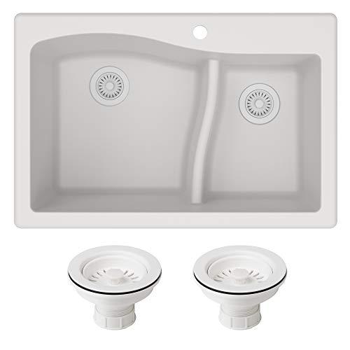 Kraus KGD-442WHITE-PST1-WH Quarza 33-inch Dual Mount 60/40 Double Bowl Granite Kitchen Sink, White