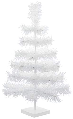 """24"""" Classic White Tinsel Christmas Tree Tabletop Home Holiday Centerpiece Display Decorations 2FT Tall White Stand Included"""