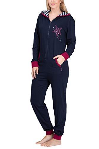 maluuna - Damen Jumpsuit, Onesie, Overall, Einteiler mit Bündchen an Arm- und Beinabschluss aus 100% Baumwolle, Farbe:Navy, Größe:40/42 - 2