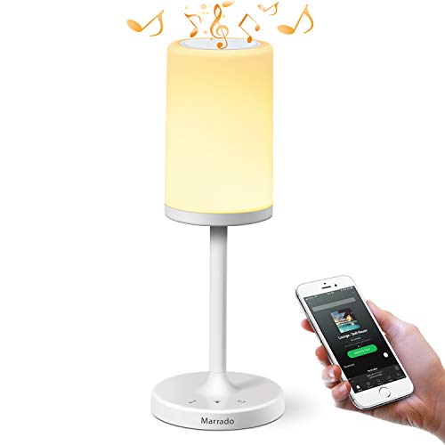 Marrado Bedside Lamp with Bluetooth Speaker | Color Changing LED Mood Light | Dimmable Touch Smart Table Lamp for Bedroom | Best Gift for Teenage College Teens Children Kids Men Women Adults