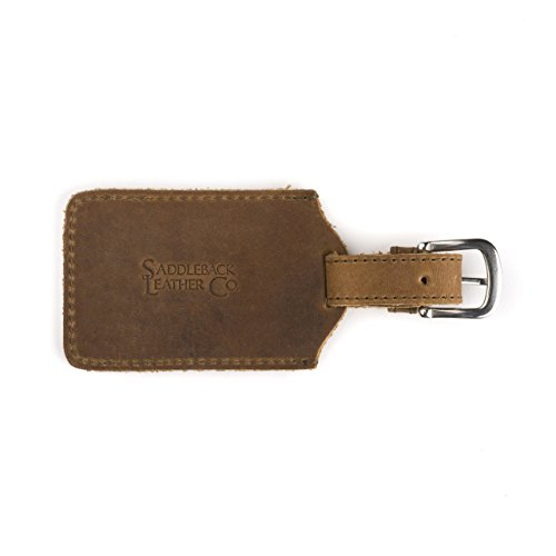 Saddleback Leather Co. Strong Full Grain Leather Luggage Travel Bag Tag Stainless Steel Hardware Includes 100 Year Warranty