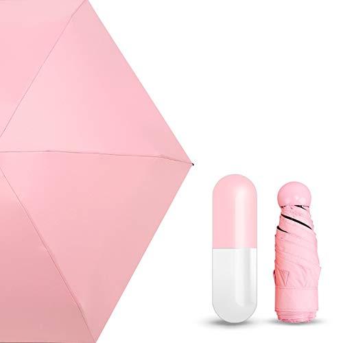 Mdsfe Mini-paraplu, 5-laags, UV-bescherming, UPF50 + paraplu, inklapbaar, dames, tas Umbrella bij vrouwen a61 Pink Capsule-a61