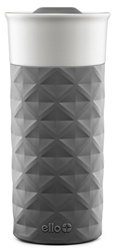Ello Ogden Ceramic Travel Mug with Friction-Fit Lid, 16 oz, Grey