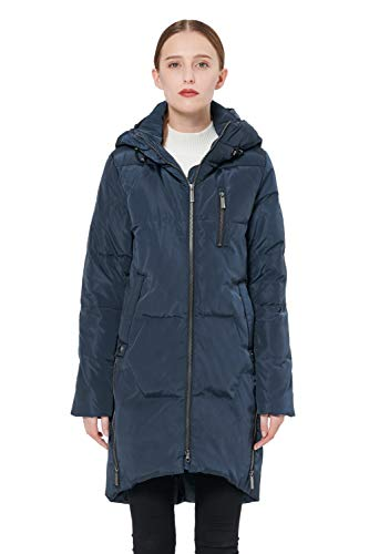 Orolay Women's Stylish Thickened Down Jacket Hooded Coat Navyblue L