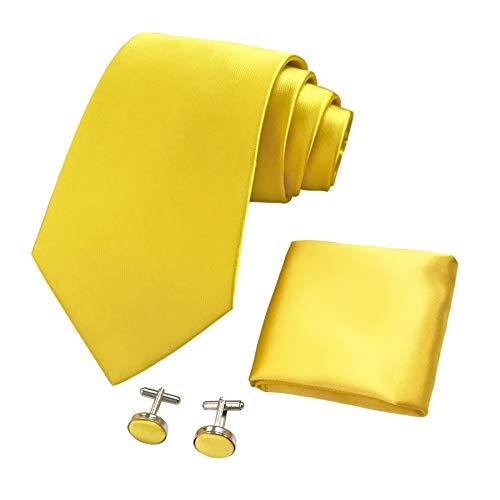 CANGRON Cravatta da uomo con cravatta gialla con fazzoletto da taschino Confezione regalo DLSC8HA
