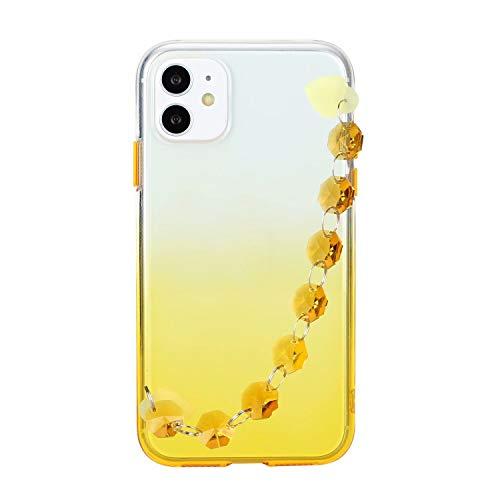 Miagon Armband Kette Hülle iPhone 11,Gradient Handyhülle Weich Silikon Klar Slim Stoßfestr Schutzhülle Ultra Dünn Bumper für iPhone 11,Gelb