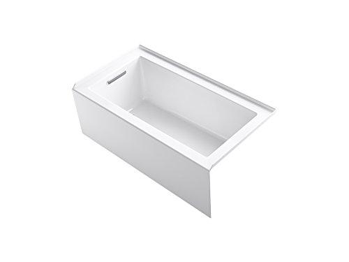 KOHLER K-20202-LA Underscore Rectangle 60-Inch x 32-Inch Alcove Bath with Integral apron, integral flange and left hand drain, White