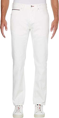Tommy Hilfiger Straight Denton STR Jeans, Blanc (Optic White), W29 / L32 Homme