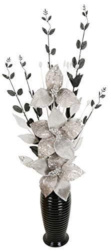 Schwarz und Weiß Künstliche Blumen Mit Schwarz Vase, Wohnaccessoires & Deko Geeignet für Bad, Schlafzimmer Oder Küche, 80cm groß