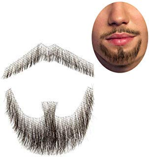 100% Human Hair Full Hand Tied Fake Mustache Goatee Beard Makeup for Entertainment/Drama/Party/Movie Prop (#3 Brown Goatee)