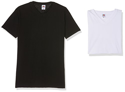 Fruit of the Loom Herren V-Neck Valueweight T-Shirt, schwarz/weiß, L (10er Pack)