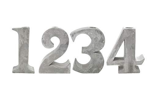 4er Set Stabkerzenhalter Zement Höhe 13-20 cm Advent f. Adventskranz Tablett Weihnachten Winter Stabkerze Kerze