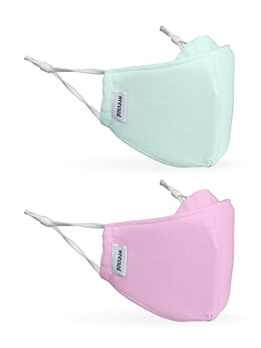 Kids Face Mask | Children's 2-Pack | Anti-Microbial, Reusable, Cloth, Adjustable, Breathable, 2-Layer 100% Cotton (Inner and Outer) | The Revival Kids Mask by coRevival (Pink, Seafoam Green)