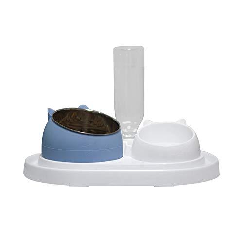 Queta Comedero para gatos de acero inoxidable, antideslizante, con diseño de boca inclinada de dos capas, capacidad de 400 ml (combinación azul).