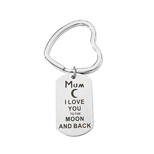 AYDOME Schlüsselanhänger Auto Herren Mum I Love You to The Mond Back Schlüsselanhänger mit Gravur Edelstahl