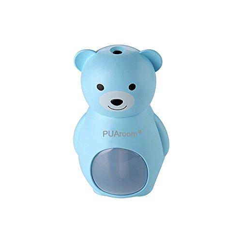 PUAroom Bärchen-Luftbefeuchter 160mL mit 3 Farben Brown/Grau/Blau, Automatische Abschaltung,Feuchtigkeitsabgabe für Autos Räume,Büros, Spa usw