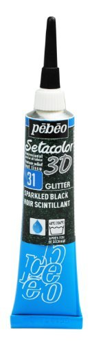 Pebeo Setacolor 3D Fabric Paint, 20ml, Glitter Sparkling Black by Pebeo