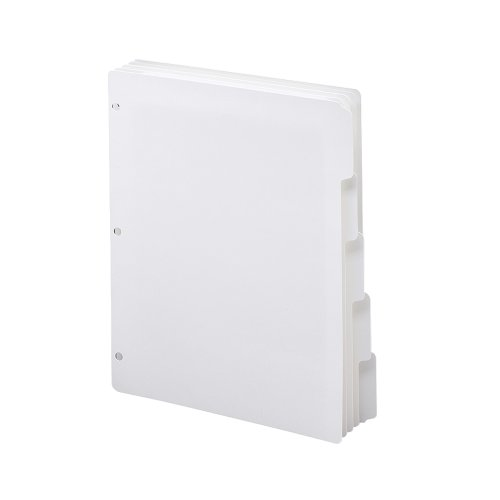 Smead three-ring cartón separadores de índice, 1/5-cut lengüetas, tamaño carta, blanco, 5por juego, 20juegos por caja (89415)