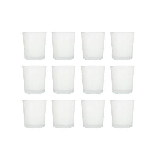 BigDean Teelichtgläser Trichterform Windlichter Teelichthalter Dekogläser Dessertgläser Milchglas rund weiß 12er Set