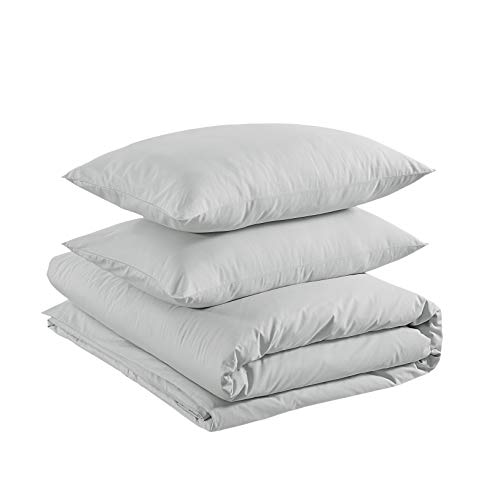 Amazon Basics– Bettwäsche-Set, 100prozent Baumwolle, 155 x 200 cm / 50 x 80 cm, Sanftes Grau