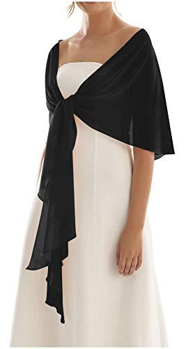 BrautChic Chiffon Stola Chiffonschal perfekt zu jedem Brautkleid Abendkleid, Hochzeit Abend Gala Empfang - RUTSCHT NICHT - SCHWARZ - ca. 245cm lang, One si